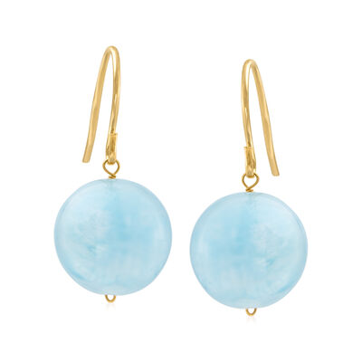 12mm Aquamarine Drop Earrings in 14kt Yellow Gold