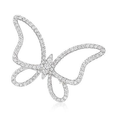 2.00 ct. t.w. Diamond Butterfly Pin in Sterling Silver, , default