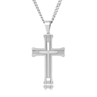 Men's Stainless Steel Cross Pendant Necklace, , default