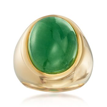 18x14mm Green Jade Ring in 14kt Gold Over Sterling, , default
