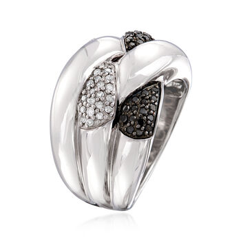 .50 ct. t.w. Black and White Diamond Crisscross Ring in Sterling Silver, , default