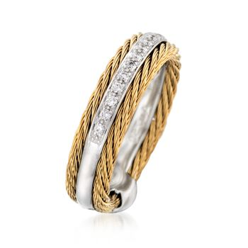 """ALOR """"Classique"""" .12 ct. t.w. Diamond and Yellow Cable Ring with 18kt White Gold. Size 7"""