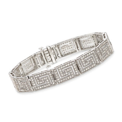 3.00 ct. t.w. Diamond Greek Key Bracelet in Sterling Silver, , default