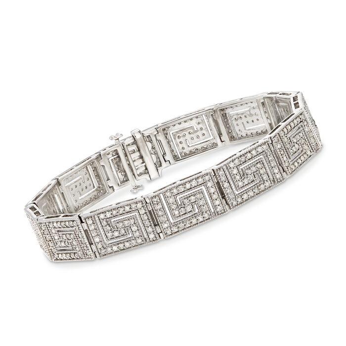 """3.00 ct. t.w. Diamond Greek Key Bracelet in Sterling Silver. 7"""""""