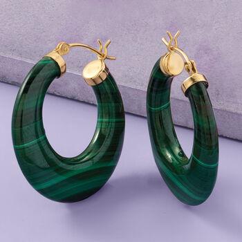"""Malachite Hoop Earrings in 14kt Yellow Gold. 1 1/8"""""""