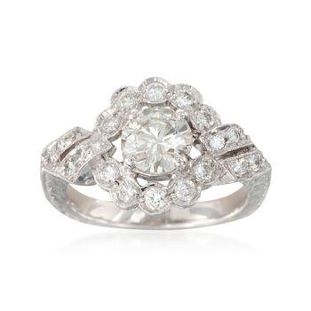 C. 2000 Vintage 1.45 ct. t.w. Diamond Ring in Platinum. Size 5.75, , default