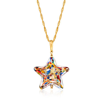 Italian Murano Glass Multicolored Star Pendant Necklace in 18kt Gold Over Sterling