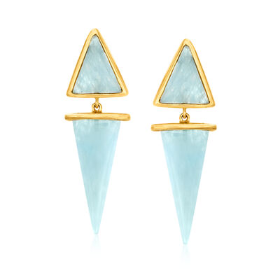 14.70 ct. t.w. Milky Aquamarine Drop Earrings in 18kt Gold Over Sterling