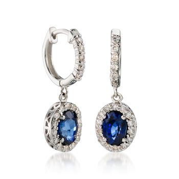 2.00 ct. t.w. Sapphire and .40 ct. t.w. Diamond Drop Earrings in 14kt White Gold, , default