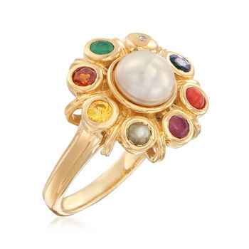 7mm Cultured Button Pearl and .49 ct. t.w. Multi-Stone Ring in 18kt Gold Over Sterling