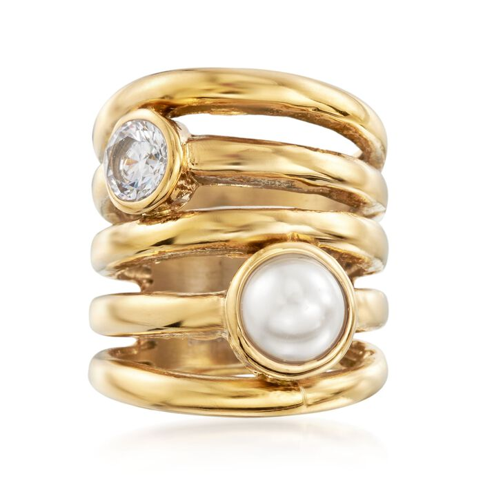 .75 Carat CZ and 8mm Simulated Pearl Stacked-Look Ring in Gold-Plated Stainless Steel. Size 5, , default