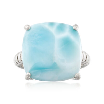 16mm Larimar Roped Sterling Silver Ring, , default