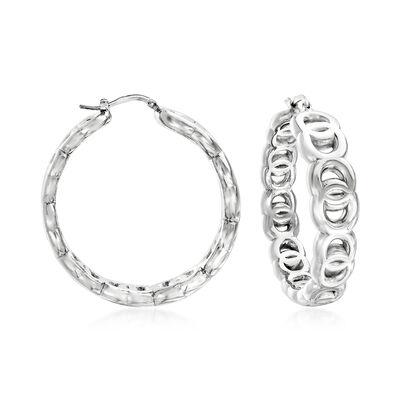 Italian Sterling Silver Link Hoop Earrings