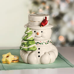 Lenox Happy Holly Days Snowman Cookie Jar, , default