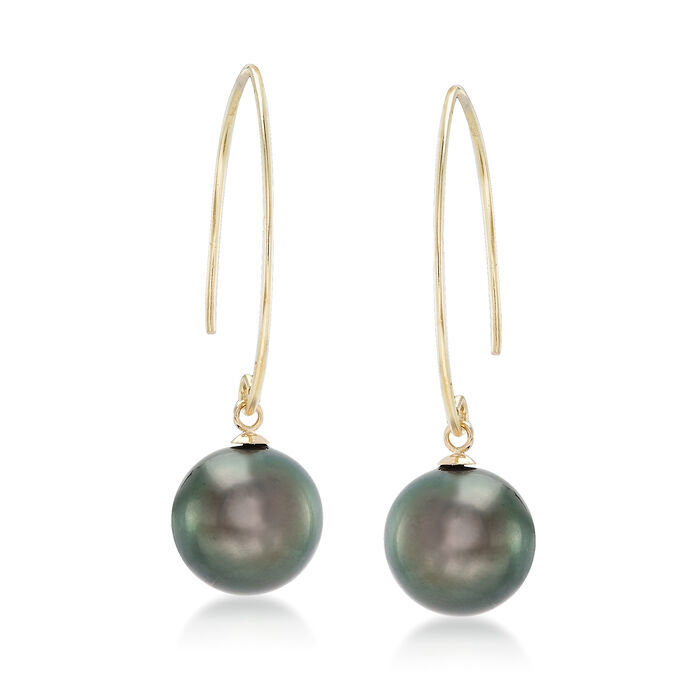 11mm Black Cultured Pearl Tahitian Pearl Drop Earrings in 14kt Yellow Gold