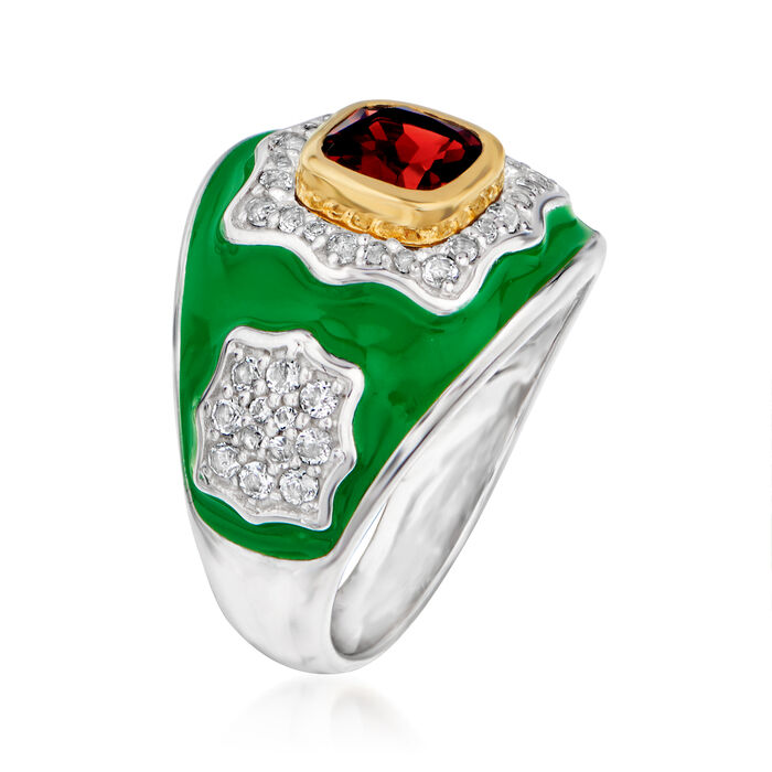 1.30 Carat Garnet and .60 ct. t.w. White Topaz Ring in Sterling Silver with Green Enamel