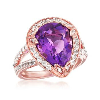 4.50 Carat Amethyst and 1.40 ct. t.w. White Topaz Ring with Diamonds in 14kt Rose Gold Over Sterling, , default