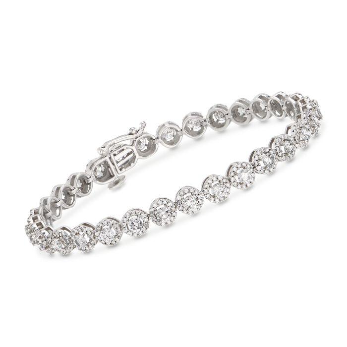 "5.80 ct. t.w. Diamond Halo Bracelet in 14kt White Gold. 8"""