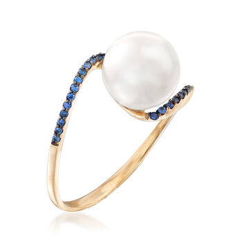 10-10.5mm Cultured Pearl and .10 ct. t.w. Sapphire Ring in 14kt Yellow Gold, , default