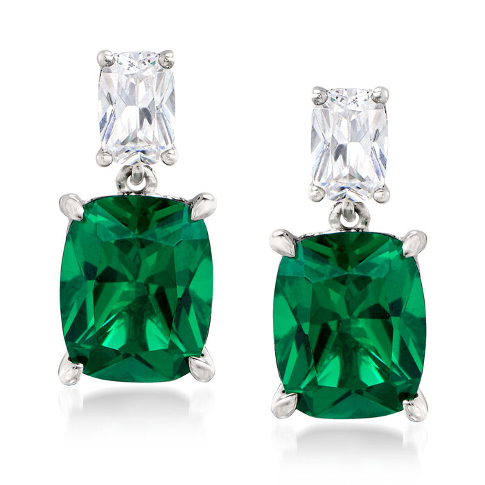 8.50 ct. t.w. Simulated Emerald and 1.10 ct. t.w. CZ Drop Earrings in Sterling Silver