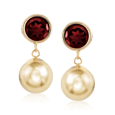 5.00 ct. t.w. Garnet and 14kt Yellow Gold Ball Drop Earrings, , default