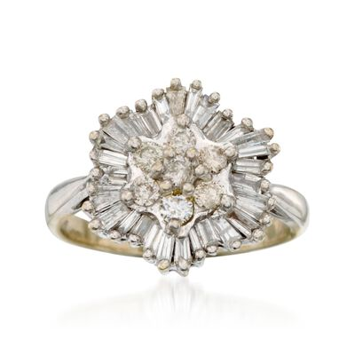 C. 1970 Vintage 1.00 ct. t.w. Diamond Ring in 14kt White Gold, , default