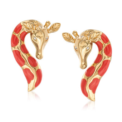 Orange Enamel Giraffe Earrings with Diamond Accents in 18kt Gold Over Sterling