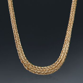 14kt Yellow Gold Graduated Wheat Necklace