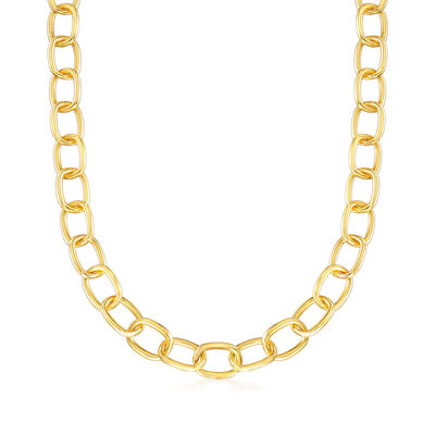 Italian Andiamo 14kt Yellow Gold Cable-Link Necklace, , default