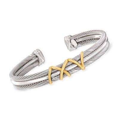 """Phillip Gavriel """"Italian Cable"""" Cuff Bracelet in Sterling Silver and 18kt Yellow Gold, , default"""