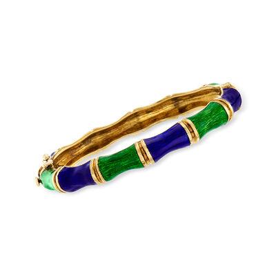 C. 1950 Vintage 18kt Yellow Gold and Enamel Bamboo Bangle Bracelet