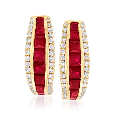 1.40 ct. t.w. Ruby and .42 ct. t.w. Diamond Hoop Earrings in 18kt Yellow Gold, , default
