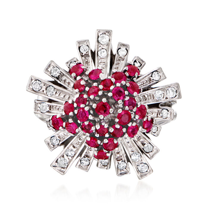 C. 1960 Vintage .75 ct. t.w. Ruby and .40 ct. t.w. Diamond Burst Ring in 18kt White Gold. Size 5.75, , default