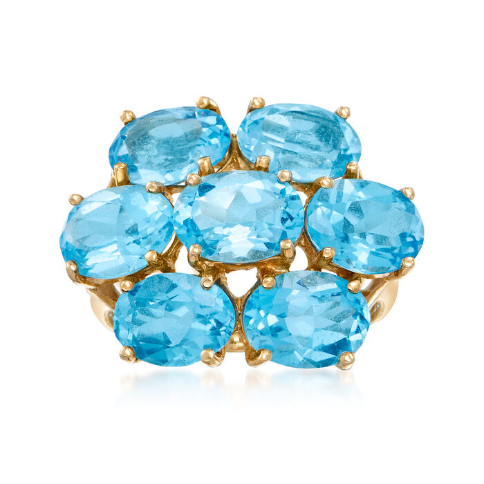 C. 1980 Vintage 10.15 ct. t.w. Blue Topaz Cluster Ring in 14kt Yellow Gold. Size 6, , default