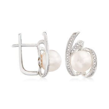 8mm Cultured Freshwater Pearl Earrings with .29 ct. t.w. Diamonds in 14kt White Gold, , default