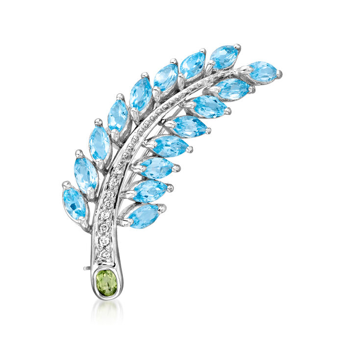 C. 1980 Vintage 4.00 ct. t.w. Sky Blue Topaz, .25 Carat Peridot and .10 ct. t.w. Diamond Feather Pin in 18kt White Gold
