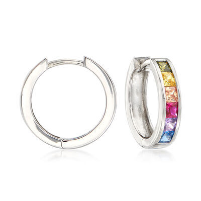 Multicolored Simulated Sapphire Huggie Hoop Earrings in Sterling Silver, , default