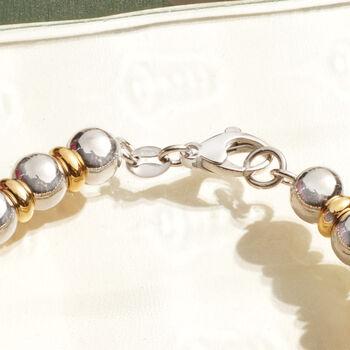 """Italian Two-Tone Sterling Silver Bead Bracelet. 7"""", , default"""