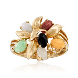 C. 1990 Vintage Multicolored Jade Cluster Ring With Diamond Accents in 14kt Yellow Gold, , default