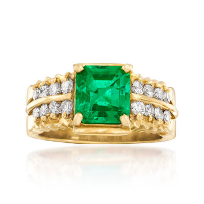 C. 1980 Vintage 1.56 Carat Certified Colombian Emerald and .50 ct. t.w. Diamond Ring in 18kt Yellow Gold