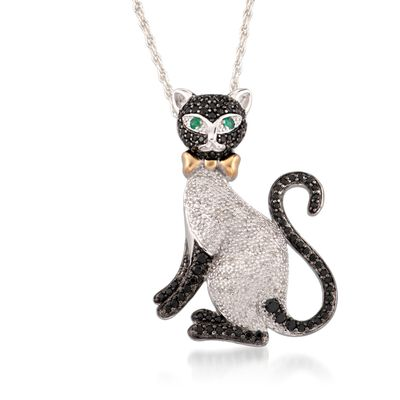 Black Spinel and .15 ct. t.w. Diamond Cat Pin Pendant Necklace with Emeralds in Two-Tone Sterling Silver, , default