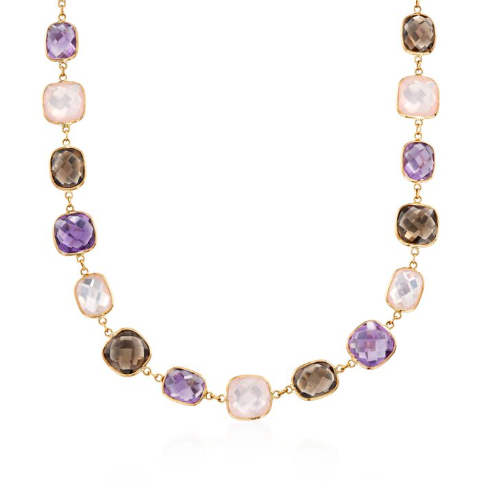 """Rose Quartz and 47.00 ct. t.w. Multi-Stone Station Necklace in 14kt Yellow Gold. 18"""""""
