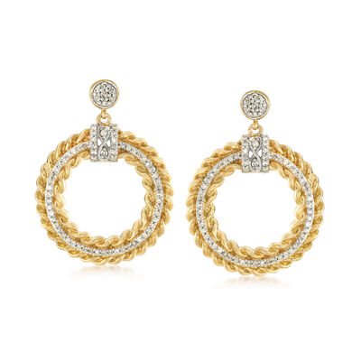 .75 ct. t.w. Diamond Circle Drop Earrings in 18kt Yellow Gold Over Sterling Silver , , default