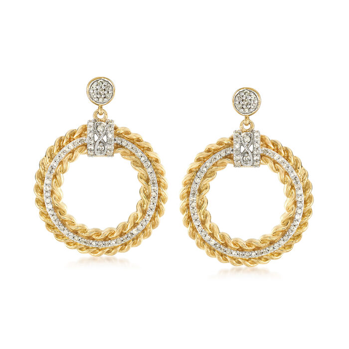 .75 ct. t.w. Diamond Circle Drop Earrings in 18kt Yellow Gold Over Sterling Silver., , default