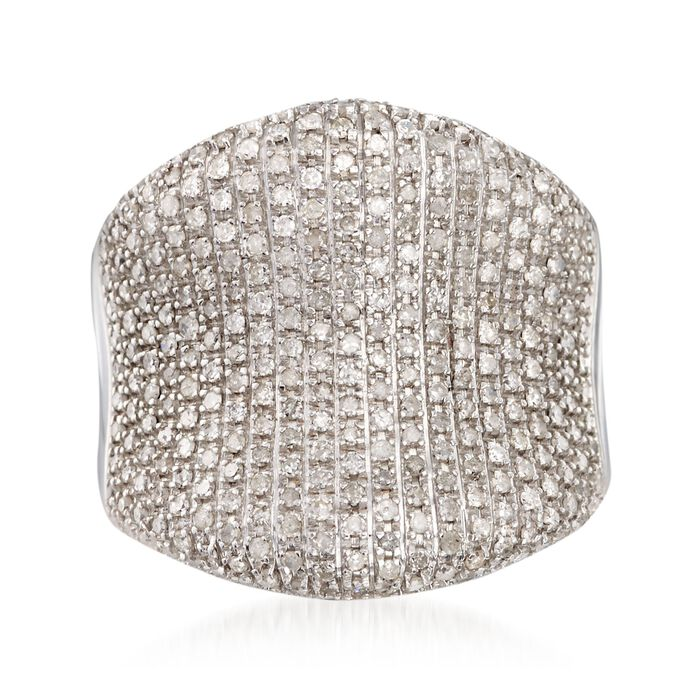 1.50 ct. t.w. Pave Diamond Concave Ring in Sterling Silver