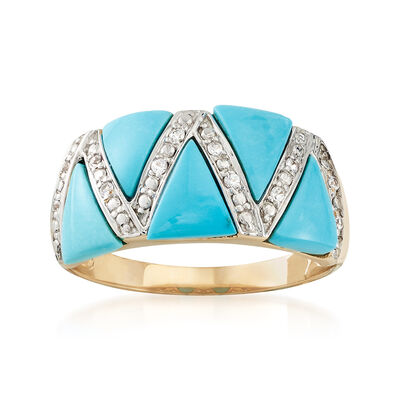 Turquoise and White Sapphire Ring in 14kt Yellow Gold, , default