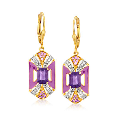 2.10 ct. t.w. Amethyst and .30 ct. t.w. White Topaz Drop Earrings with Purple Enamel in 18kt Gold Over Sterling