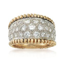C. 1980 Vintage 2.30 ct. t.w. Diamond Wide Band Ring in 14kt Two-Tone Gold. Size 7.5, , default