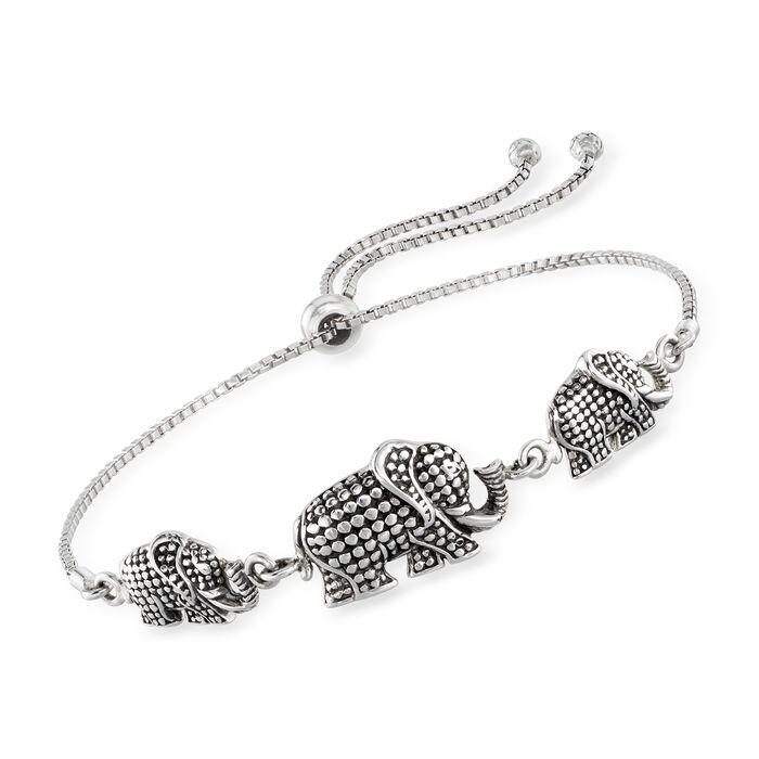 Sterling Silver Bali-Style Elephant Trio Bolo Bracelet