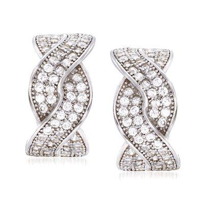 .65 ct. t.w. CZ Braided Half-Hoop Earrings in Sterling Silver, , default